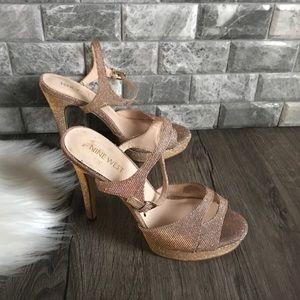 Nine West ditch him glitter strappy heels sandals